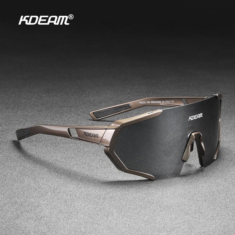 KDEAM شاتيربروف TR90 نشط الاستقطاب النظارات الشمسية الرجال فائقة قبضة المطاط الأنف متعدد الطبقات عدسات عاكسة + واضح عدسة KD0802