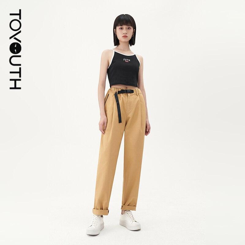 Toyouth النساء السراويل 2021 الصيف قابل للتعديل مشبك مرونة الخصر سستة جيب التباين الملونة بنطال رياضي