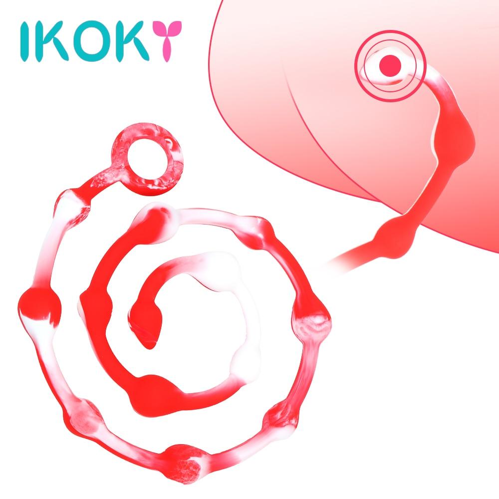 IKOKY Super largo silicona Anal enchufe 110cm/43,3 pulgadas Anal cuentas anillo de tiro Dilatator culo masaje enchufe trasero juguetes sexuales para los hombres y las mujeres