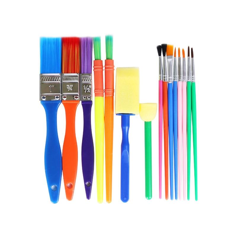 15pcs/set Childrens Early Education Graffiti Sponge Painting Brush for DIY Color Nylon Hair Set Art Supplies