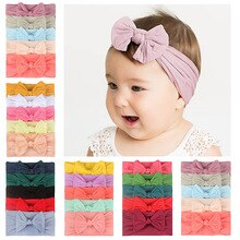 5 Pcs/Set Baby Girl Headband Bows Elastic Headbands Hair Band For Girls Solid Color Kids Toddler Turban Baby Hair Accessories