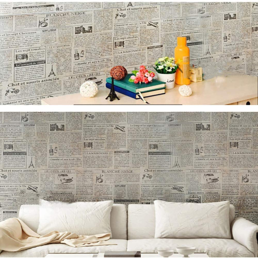 Roll wallpaper HaoHome vinyl  Vintage Newspaper Wallpaper Self Adhesive Contact Paper Waterproof Peel and Stick for Do