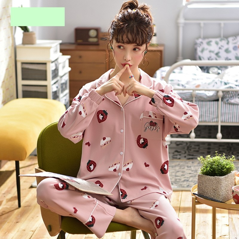 Pijamas de mujer primavera Otoño de manga larga Chaqueta de punto con solapa dulce y encantadora ropa de casa de niña rosa conjunto con fresas Casual transpirable