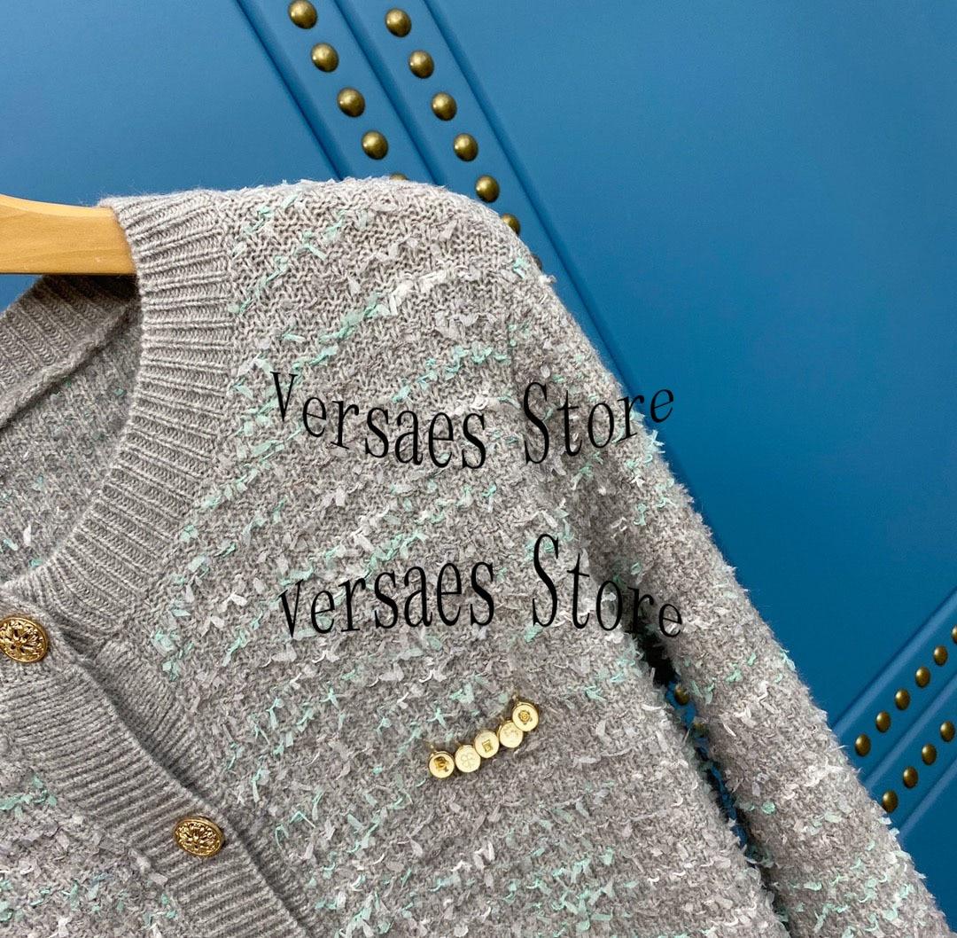 luxury design yarn knitting fashion women long sleeve top temperament Versatile Single breasted round neck knitted cardigan coat enlarge