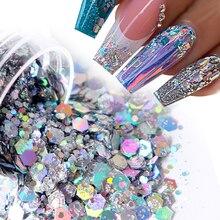 10ml holographique gros ongles Art paillettes paillettes Laser mélangé flocons brillant 3D hexagone paillettes Gel vernis manucure décorations