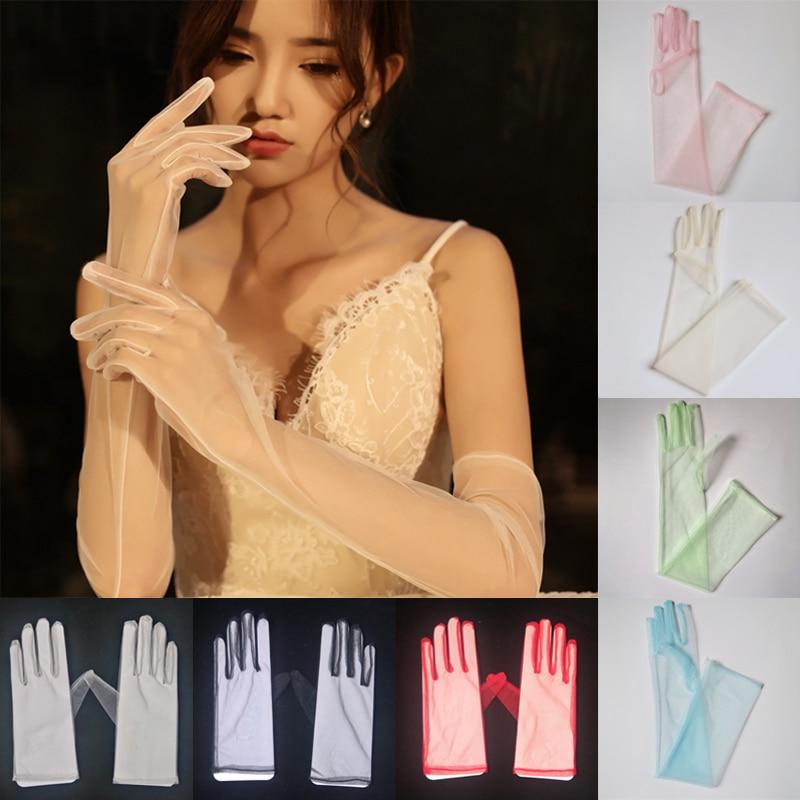 Women Gloves Bridal Tulle Mesh prom glove,Wedding Accessories,opera glove Dress Party  Opera Wedding  Accessories 23/55cm