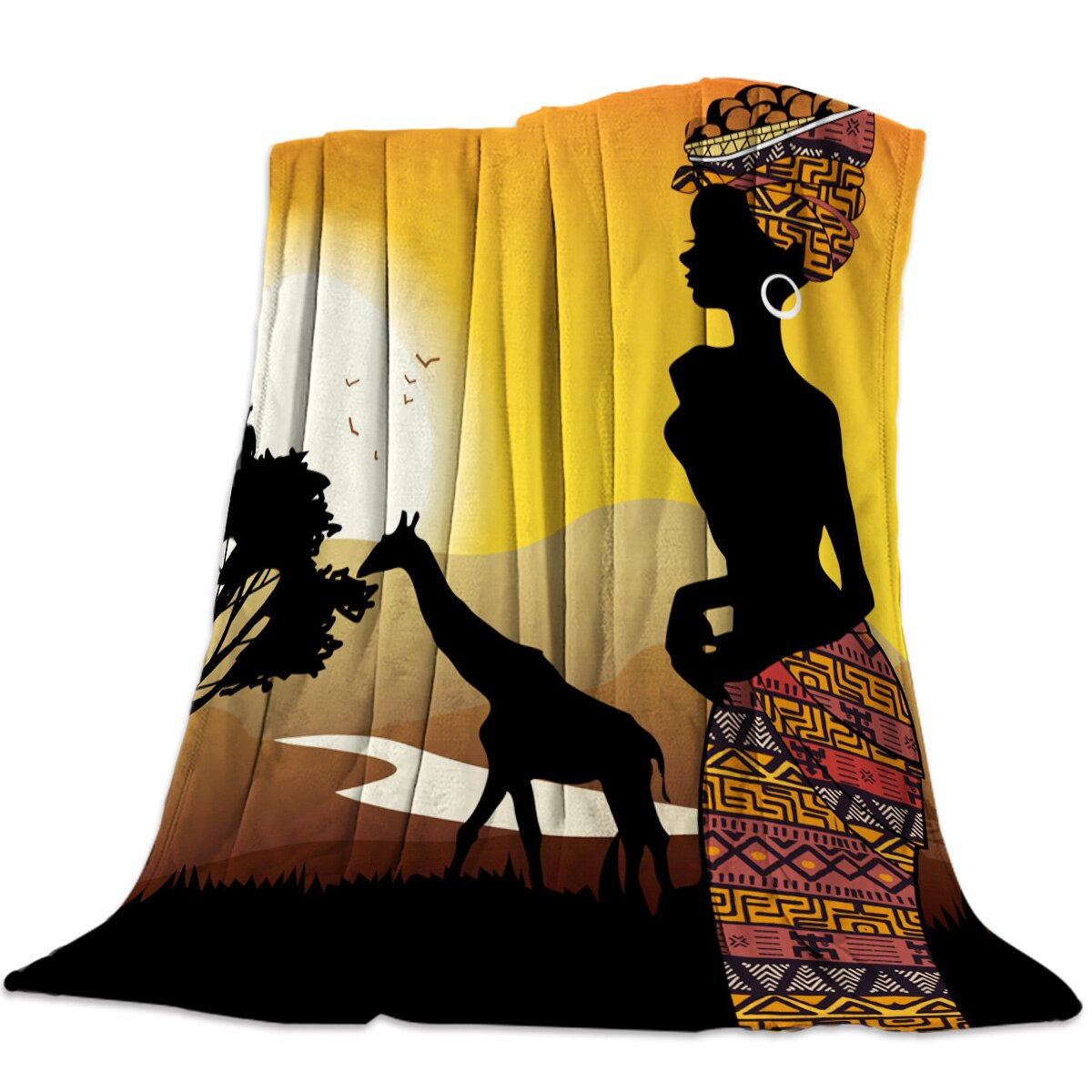 African Woman Giraffe Silhouette Warm Blanket Office Rest Sofa Couch Bedding Cover Bedsheet Student Home Bedspread