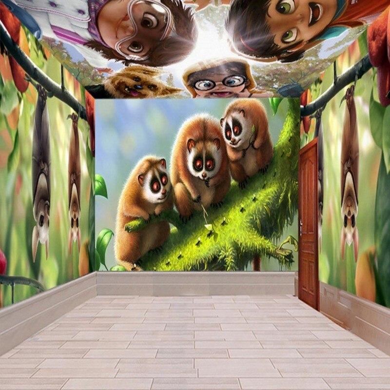 Envío Directo papel pintado 3d tema infantil espacio pared niños habitación tienda de juguetes Mural dibujos animados HD personaje Animal papel tapiz