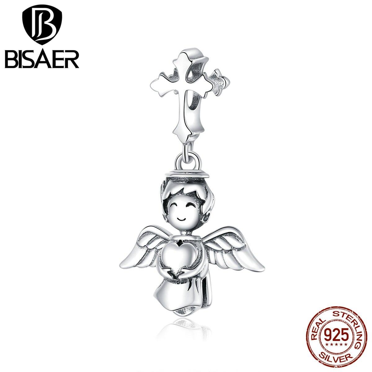 BISAER Lächelnder Engel Charme 925 Sterling Silber Engel hält Liebe Perle Anhänger DIY Armbänder Halskette Für Weibliche Schmuck EFC316