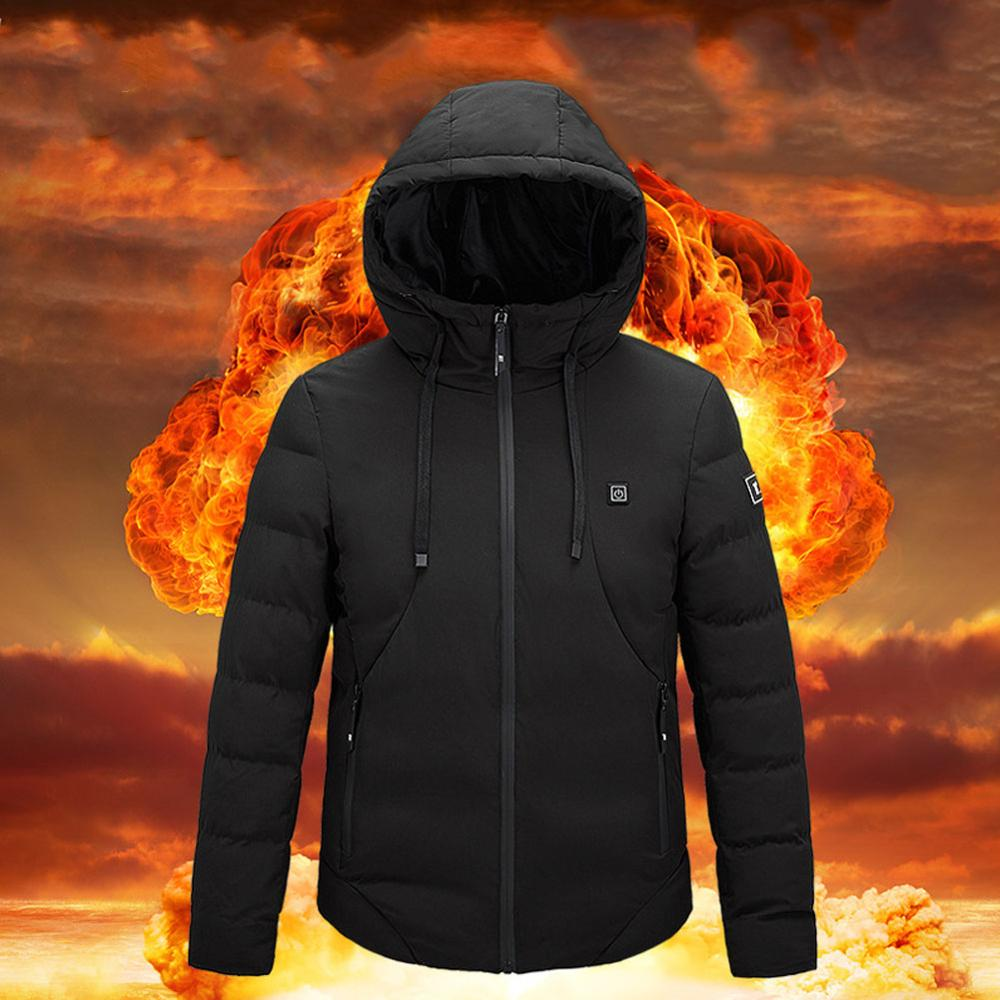 Electric Heated Jackets Vest Down Cotton Outdoor Coat USB Electric Heating Hooded...