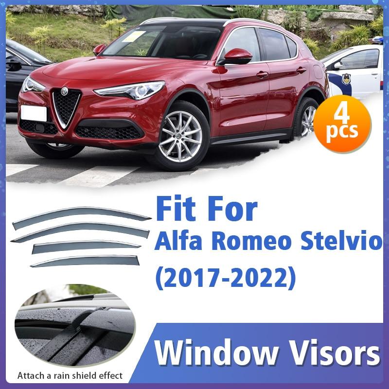 Window Visors Guard for Alfa Romeo Stelvio 2017-2022 Visor Vent Cover Trim Awnings Shelters Protection Guard Deflector 4pcs