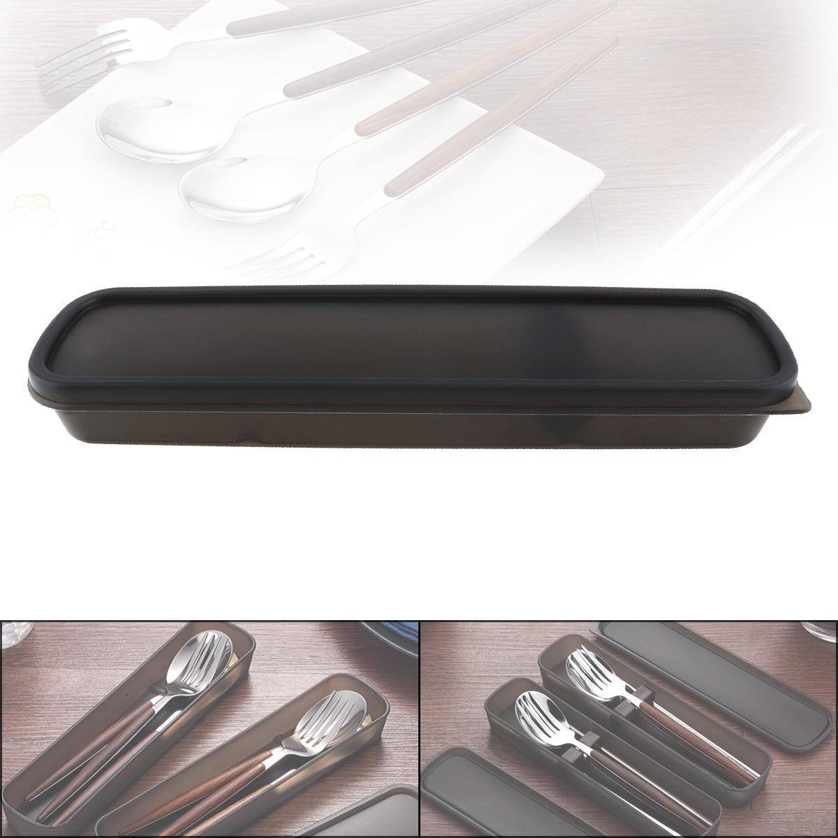 Universal Negro portátil cuchillería PP receptáculo caja de almacenamiento de vajilla con almohadilla de silicona