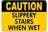 caution slippery stairs when wet slippery when wets metal road signvintage metal tin sign decor poster plaque 8x12 inches