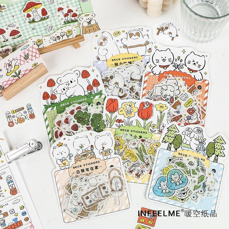 Bonito bosque Animal fiesta serie pegatinas decorativas Etiqueta de palo de Scrapbooking diario álbum adhesivo de papelería Accesorios