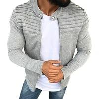 sports casual men jacket mens autumn pleats slim stripe fit jacket zipper long sleeve coat cardigan coat