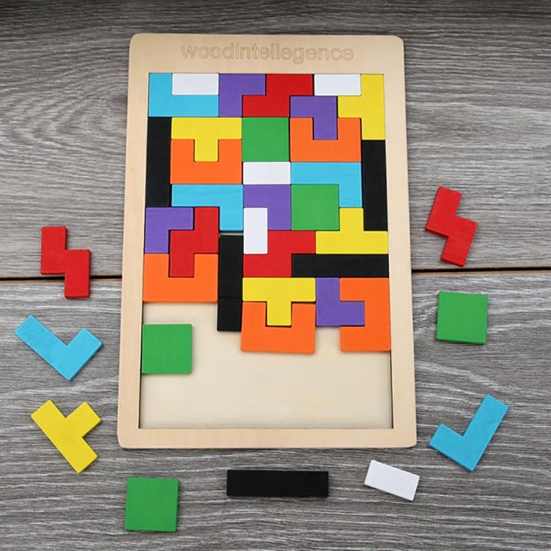 1 шт. деревянные пазлы Детские игрушка-Танграм материалы Монтессори обучающие игрушки для детей Кирпичи Детские обучающие игрушки