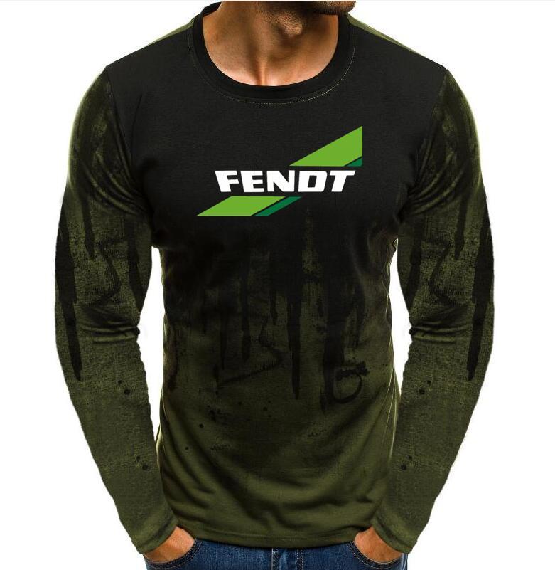 Fendt Tractor agrícola máquinas de agricultura camiseta para hombre primavera ronda de diseño de moda cuello ropa de manga larga de algodón