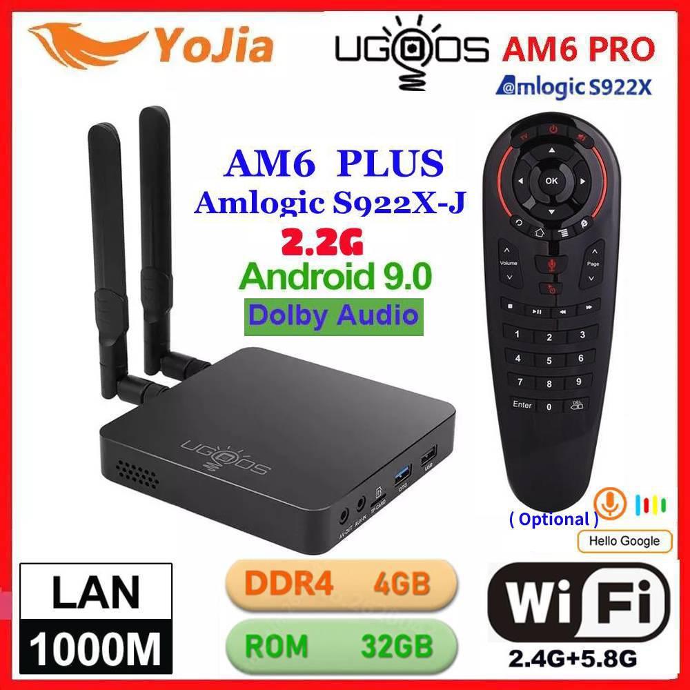 ТВ-приставка UGOOS AM6 Plus Android 9,0 Amlogic S922X AM6 Pro 4K медиаплеер DDR4 4 Гб RAM 32 ГБ ROM 2,4/5G WiFi 1000 м LAN BT 2G16G OTA