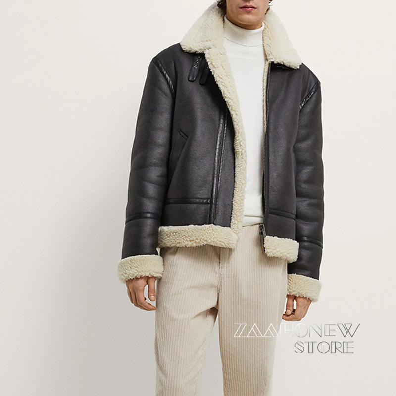 ZAAHONEW جديد الشتاء الدفء فو الجلود Lamb سترة معطف الرجال Vintage سحاب أكمام طويلة السائق ملابس خارجية