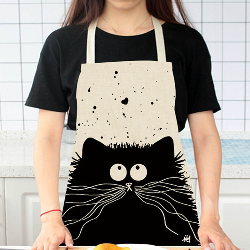 Cute Cartoon Cat Print Kitchen Apron Waterproof Apron Cotton Linen Wasy to Clean Home Tools 12 Styles to Choose From enlarge