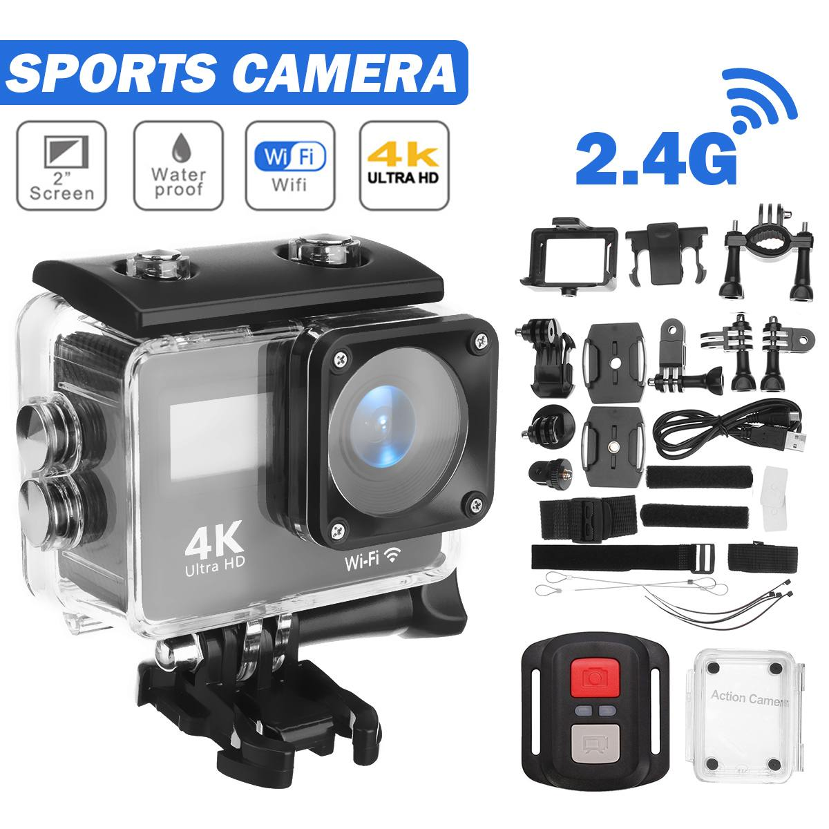 Action Camera 12MP Ultra HD 4K WiFi Remote Control Sports Video Recording Camcorder DVR DV go Waterproof pro Mini Helmet Camera