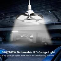 Led Garage Lamp Deform Industry Lamp E27/E26 High Bay Light 60/100W Workshop Parking Waterproof Warehouse Ceiling Light 85-265v