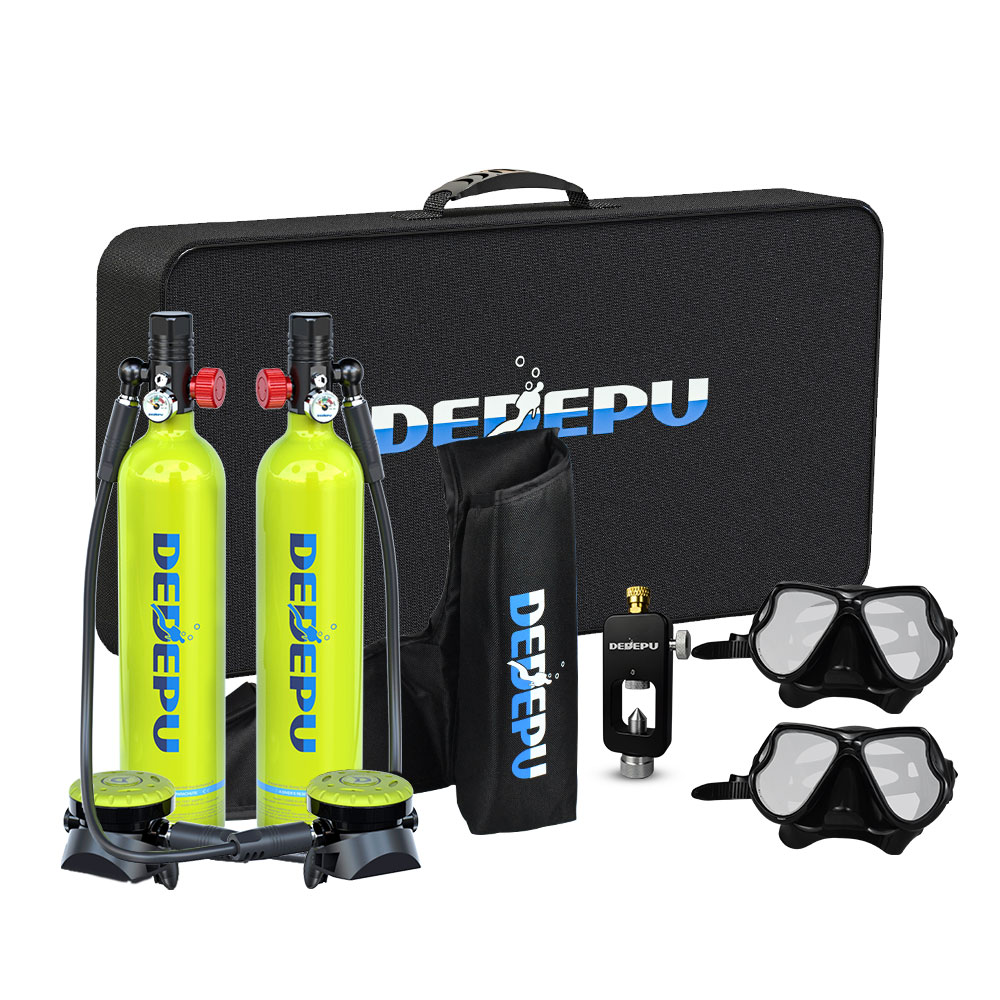 DEDEPU Mini Diving Oxygen Tank, Two People Underwater Free Breathing and Swimming Diving Equipment Kit