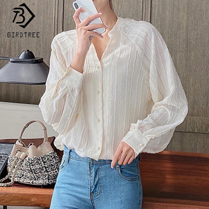 Camisas de mujer 2020 primavera otoño cuello en V manga larga blusas de gasa de un solo pecho estilo coreano Tops sueltos todo partido T05008K