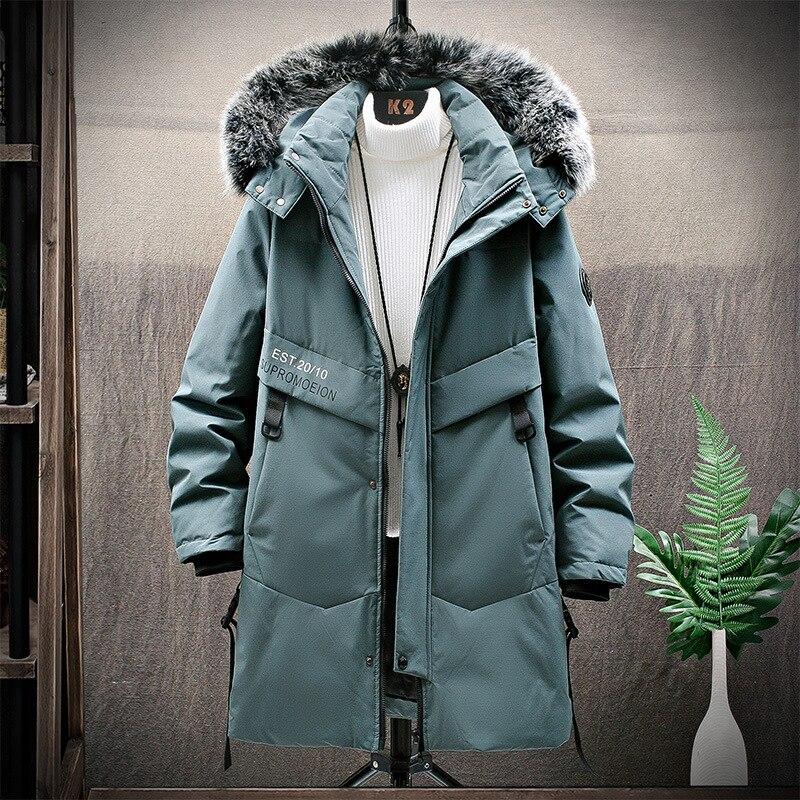 Мужская пуховая куртка с капюшоном и искусственным мехом на капюшоне до-15 градусов, зима 2021, Мужская ветровка с капюшоном, пальто, длинное те...