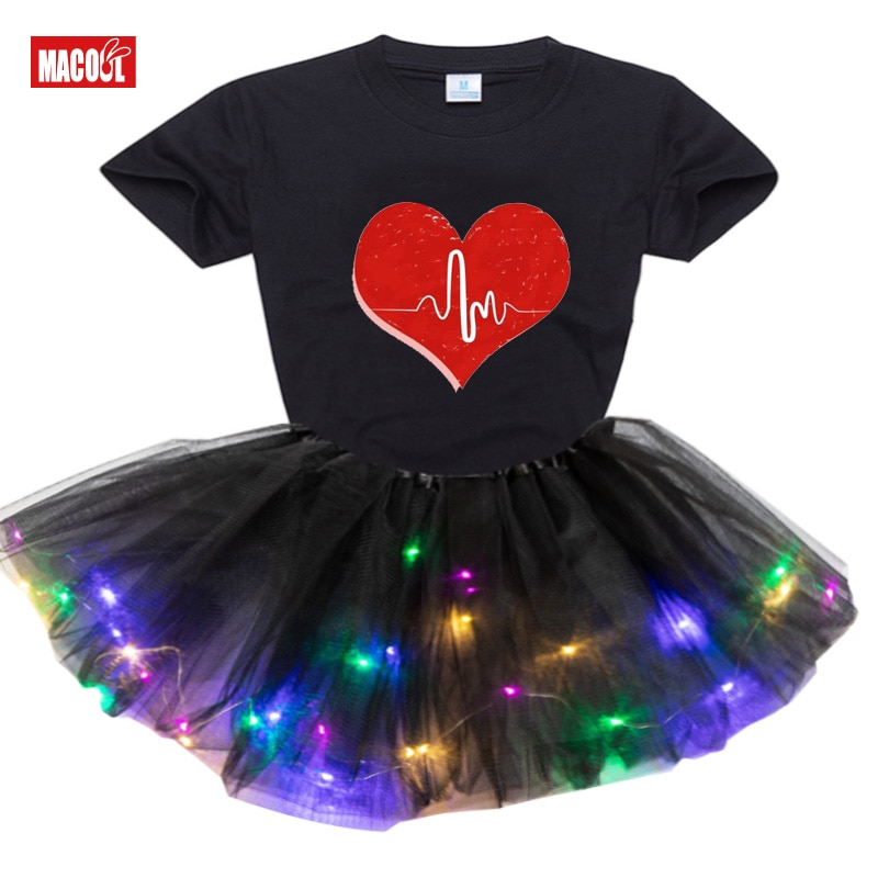 girls sets autumn winter 2020 new clothing children s set puff sleeve t shirt leather skirt 2pcs suit outfit baby kids clothes 2020 New Summer Autumn Kids Girls Short Sleeve T-shirt + Luminous Dress 2pcs Clothing Sets Baby Girl Clothes Suit Christmas Gift