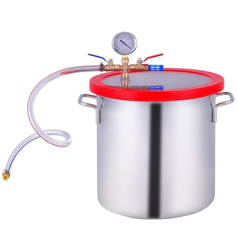 3-Gal Vacuum Chamber Stainless Steel 12L Stainless Steel Vacuum Degassing Chamber Silicone AB Vacuum Defoaming Barrel