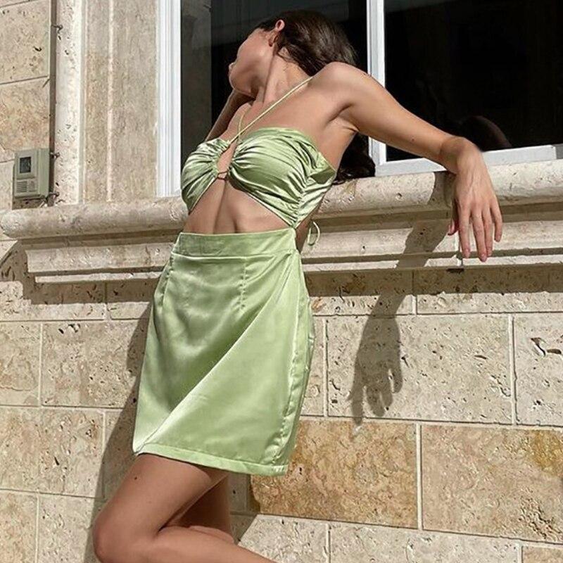 платье lusio lusio lu018ewysh37 Женское шифоновое платье с кружевами платье, симпатичное платье без рукавов сексуальное мини платье зеленого цвета вечерние платье со шнур...