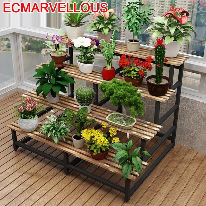 Escalera de Madera Macetas de interior Estante Repisa Para Plantas Stojak Na Kwiaty decoración balcón flor Estante planta soporte