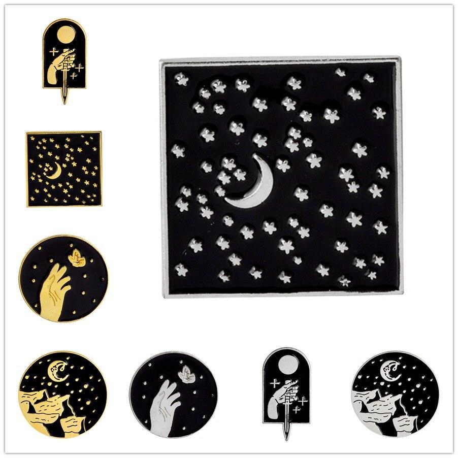 Meetvii broche Vintage de Luna estrellada, daga, estrella de la Luna, montaña, broche, chaqueta con solapa vaquera, Pin, conjunto, insignia negra, regalo de moda