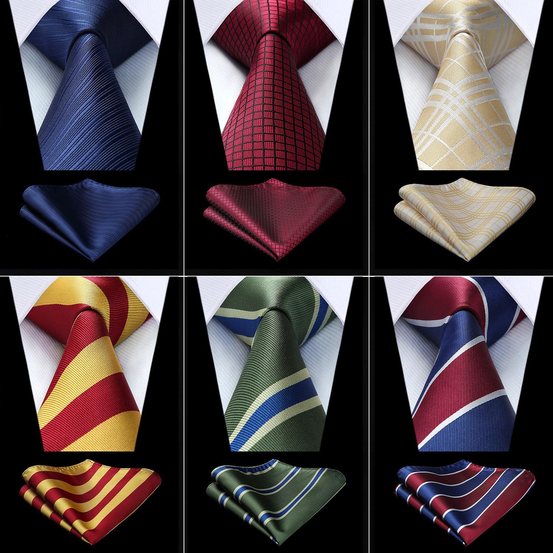 Fiesta de boda de los hombres de cuadros clásicos a cuadros de lunares de seda tejida conjunto de pañuelo y corbata