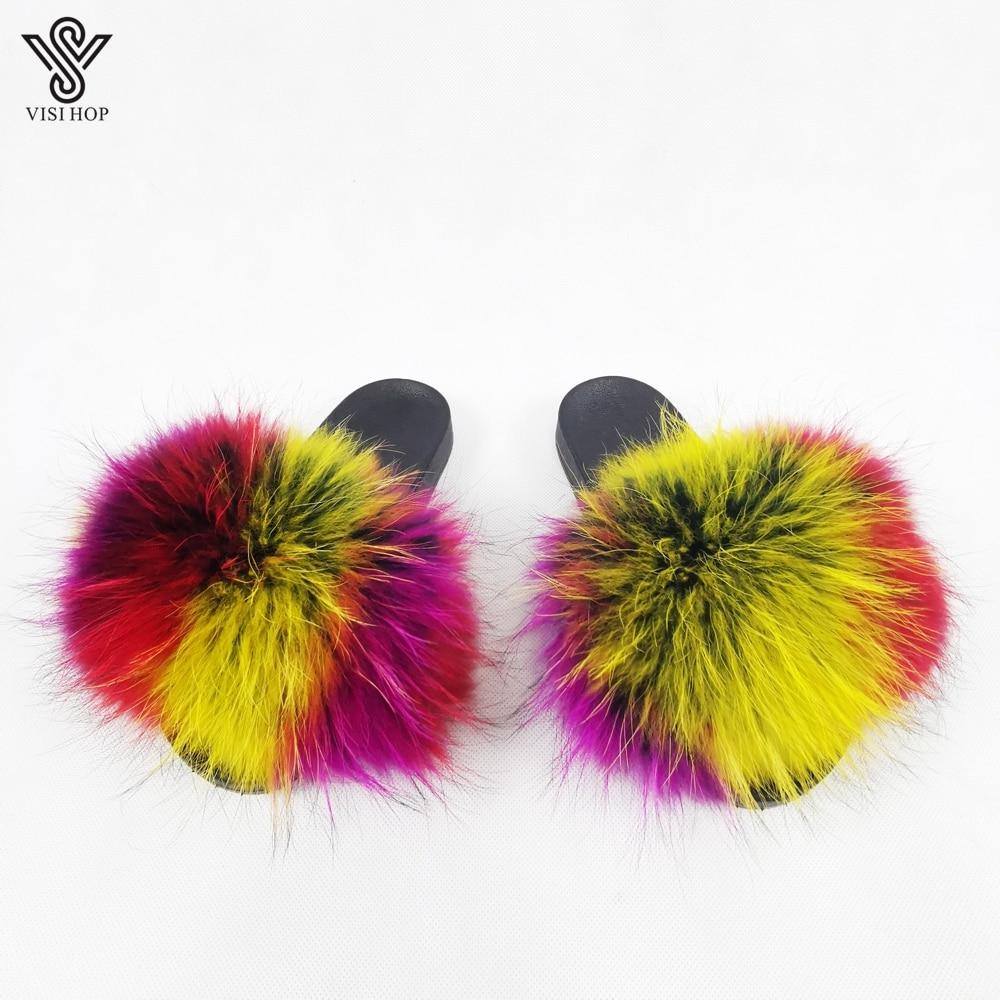 VISI HOP mujeres estilo de moda de diapositivas Real de piel de mapache Pantufla Multicolor verano interior mullida piel sandalias primavera otoño VS1004