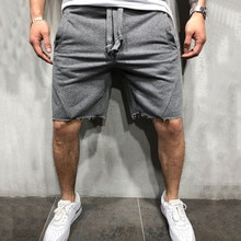 Calções masculinos estilo selvagem cor sólida rasgado calças curtas jogger shorts de treino masculino
