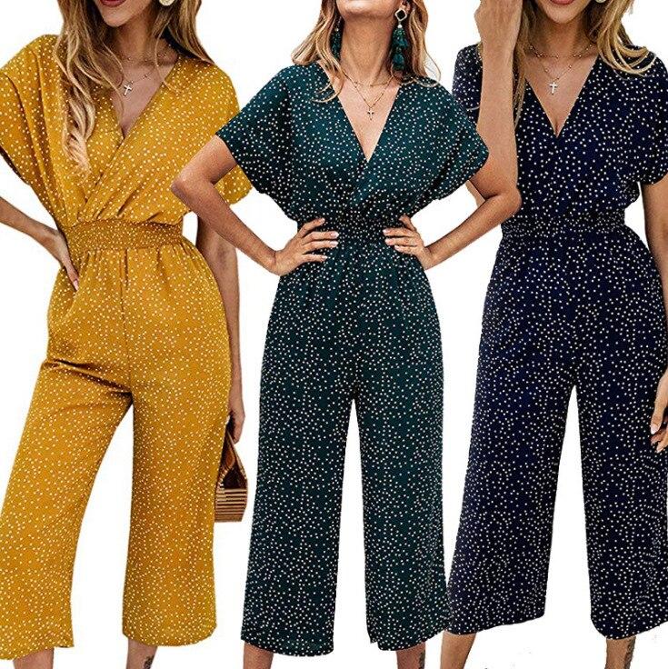 AliExpress 2020 Amazon a través de Europa y América Comercio exterior vestido de mujer cintura elástica relajado Casual estampado Capri Onesie