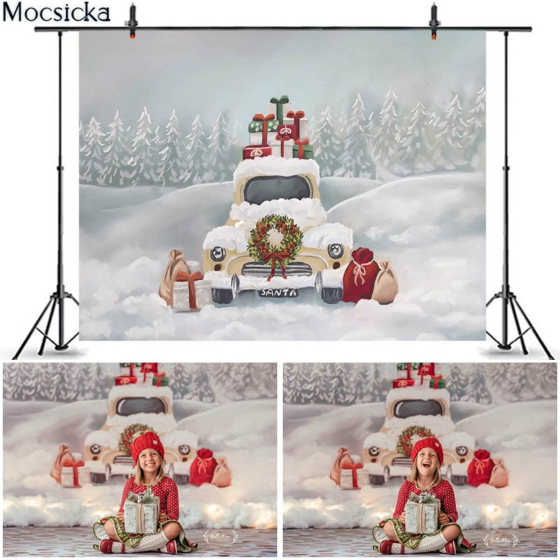 Mocsicka Christmas Backdrop for Truck Gifts Decor Photography Backdrops Winter Snow Oil Painting Background Photo Studio Props