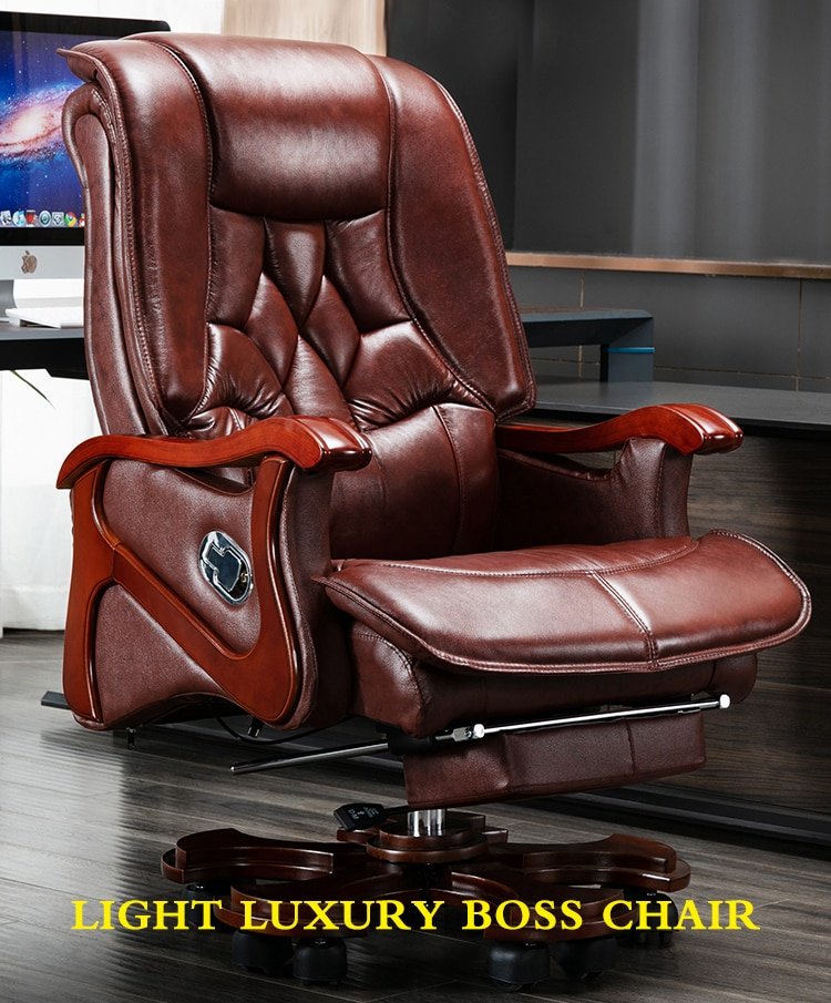 Leather boss chair Home business office chair can lie down massage computer chair real wood swivel chair real leather boss chair can lie high grade massage computer chair home office chair real wood swivel chair 08