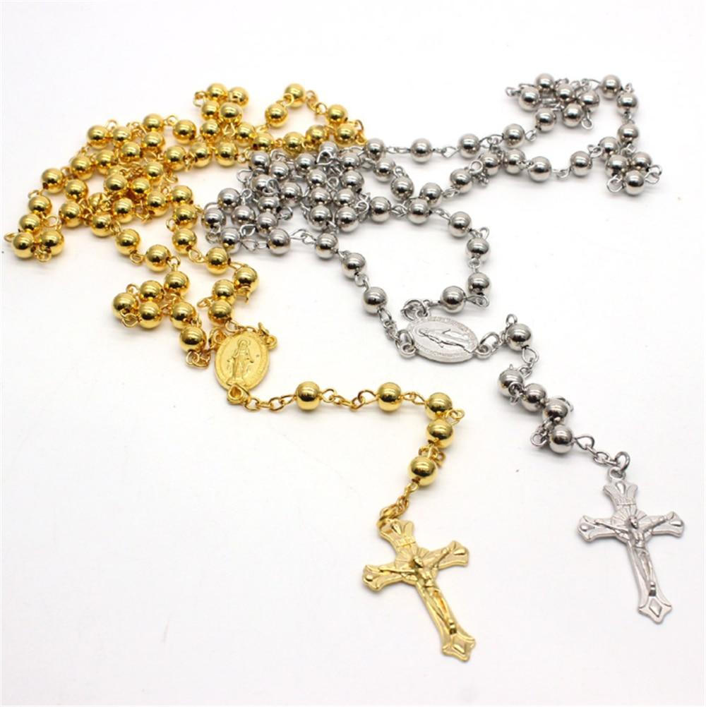 Collar con colgante de oro nuevo de cruz cristiana católica de la Virgen del Santo Cristo para mujeres y hombres, collar de Rosario, joyería con cuentas de oración