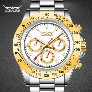 JARAGER New Design Men Clock Steel Style Luxury Golden Male Wristwatch  Automatic Mechanical Male Watches relogio masculino