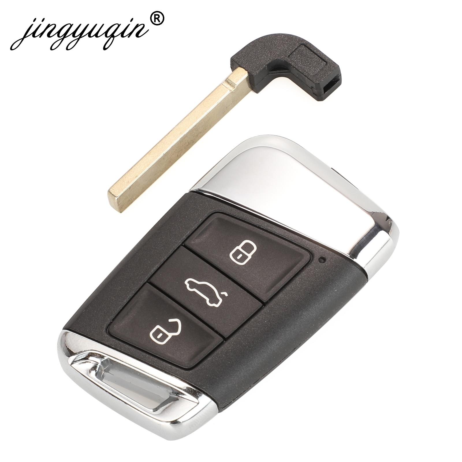 Jingyuqin 10 Uds 3 botón inteligente de la llave del coche caso de Shell para VW Passat B8 nuevo Magotan B5 Skoda Superb A7 variante Golf + Insertar hoja
