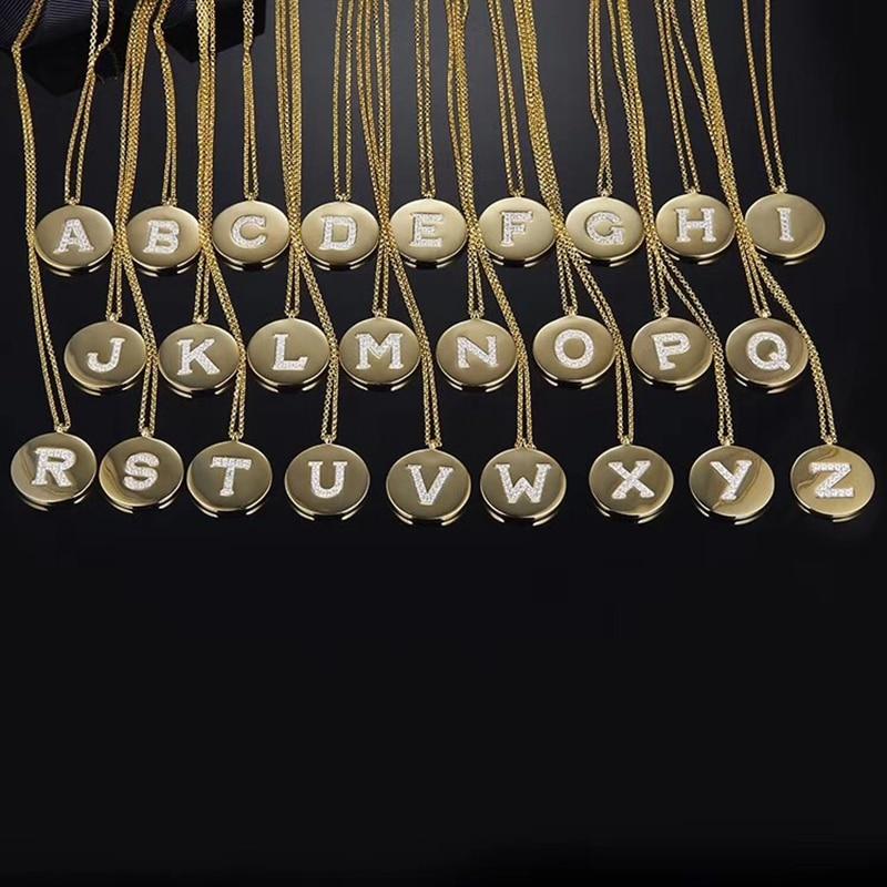 Collar con nombre con letra O redonda de circonita de cristal popular para mujer, inicial de boda, zirconio de Monaco de la suerte, joyería de plata de ley 925