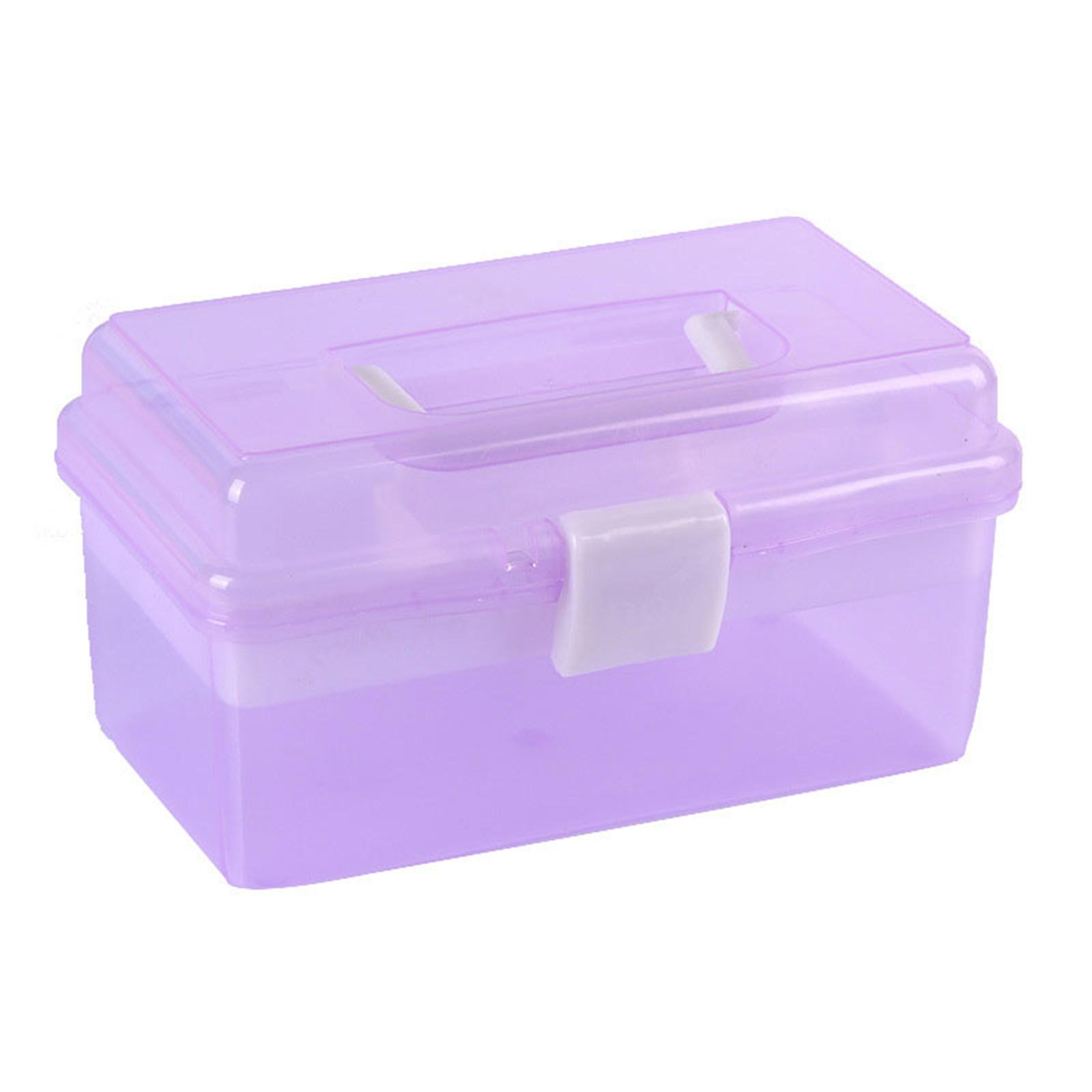2 طبقة صندوق تخزين من البلاستيك متعددة الوظائف المحمولة مجموعة أدوات طلاء الأظافر مع يده للأظافر أدوات التصميم 66CY