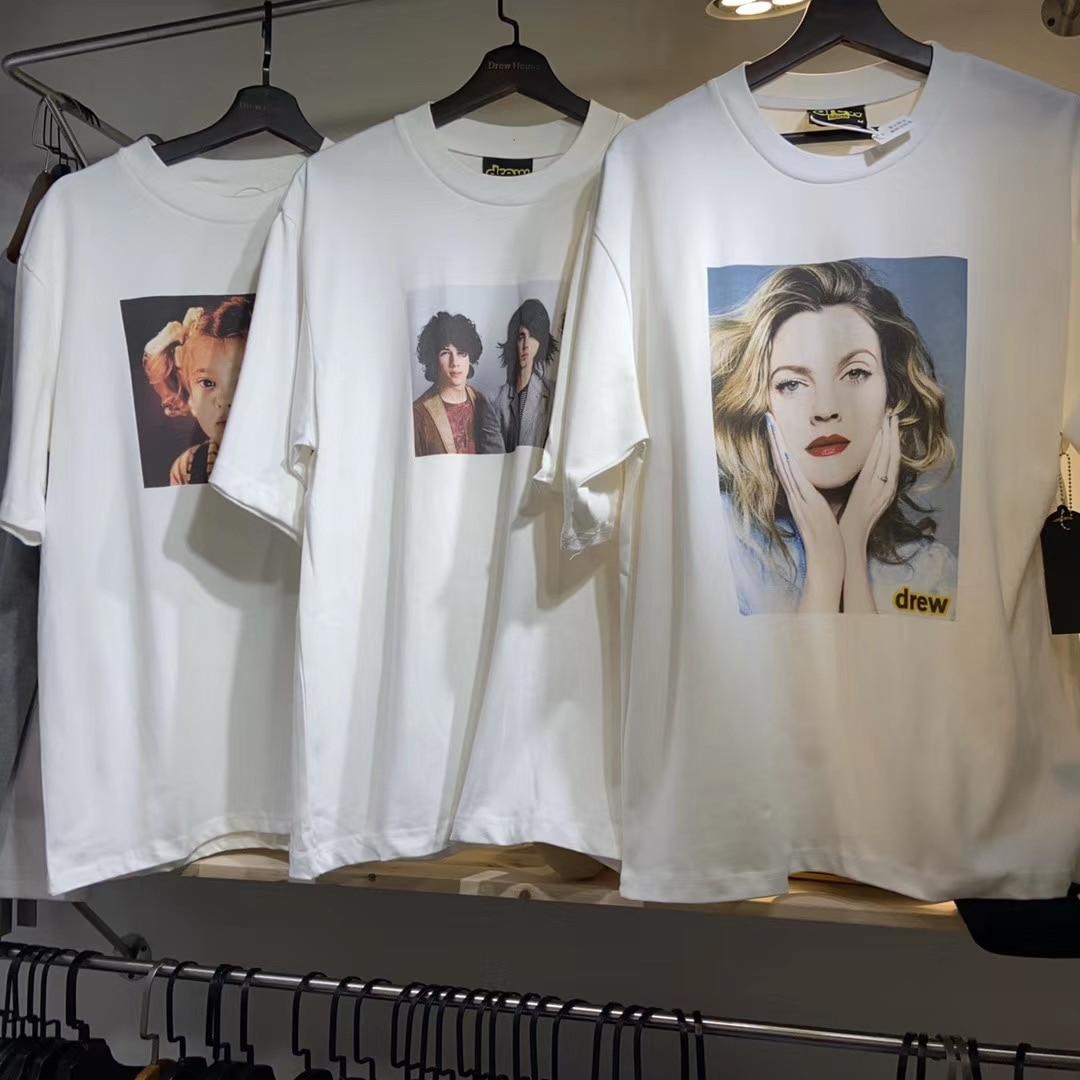 2020 Summer Style Justin Biber Drew House Portrait T-Shirt Men Women Couples Tees 100% Cotton Loose Fit T Shirt Men