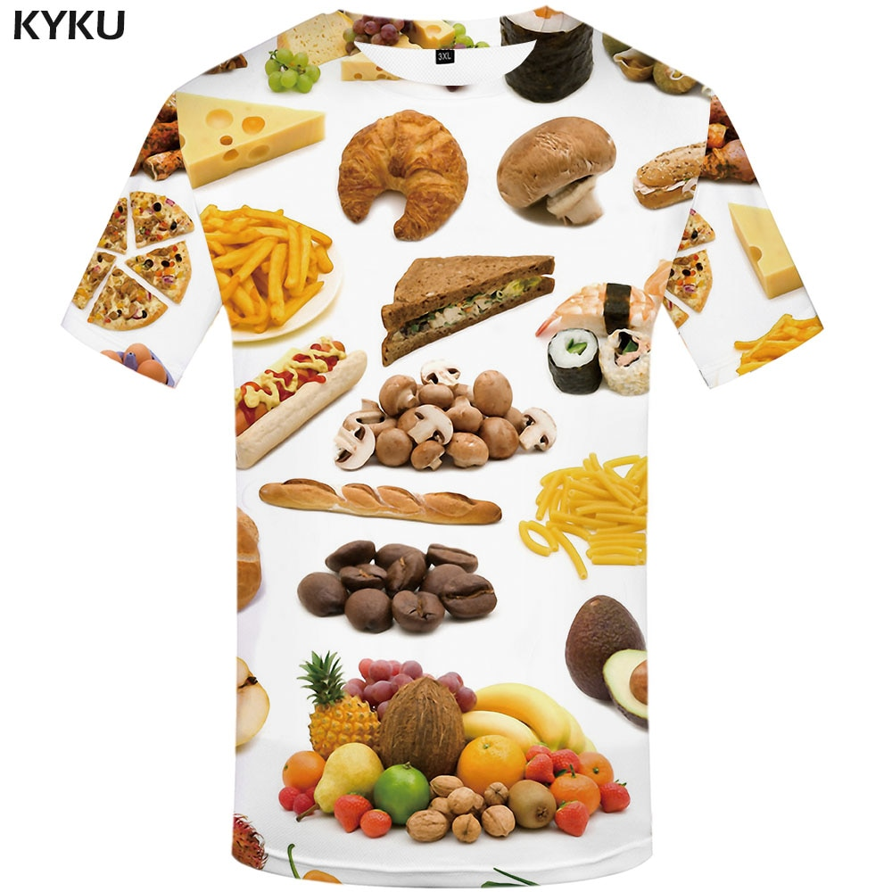 Camiseta de comida KYKU, ropa de fruta de Anime para hombre, camisetas de hamburguesa, camisetas encantadoras 3d, camiseta Casual Harajuku estampada de manga corta para verano
