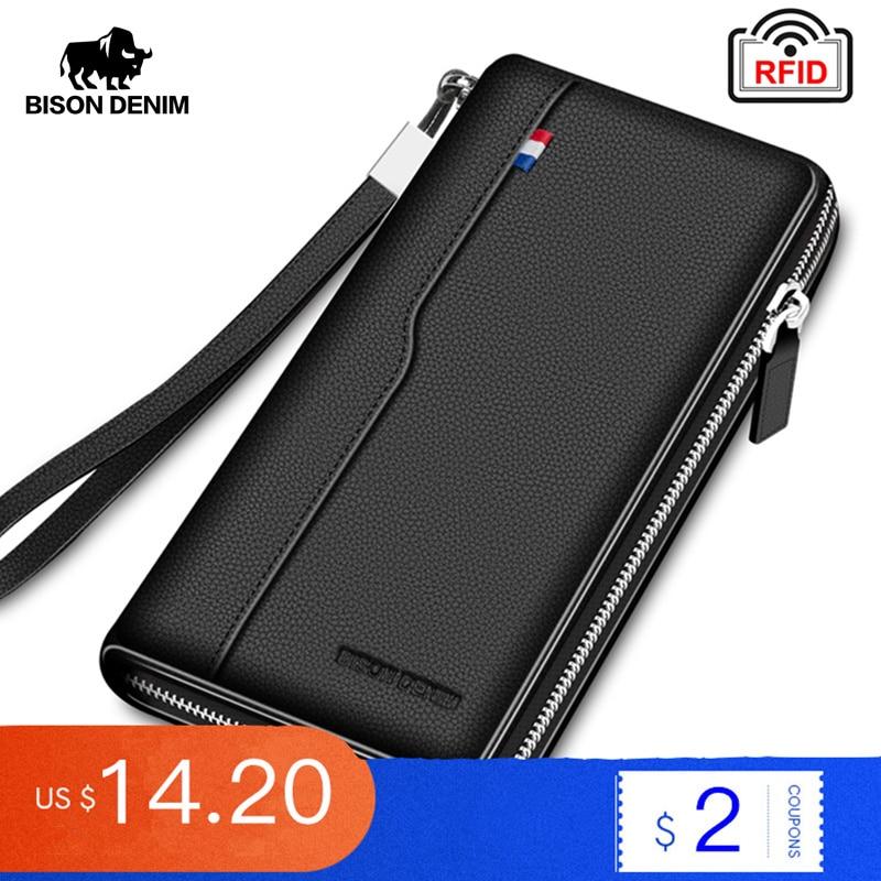 BISON DENIM Genuine leather RFID Blocking Wallet Zipper Coin Pocket Long Purse Passport Cover For Men Card Holder Purse W8226
