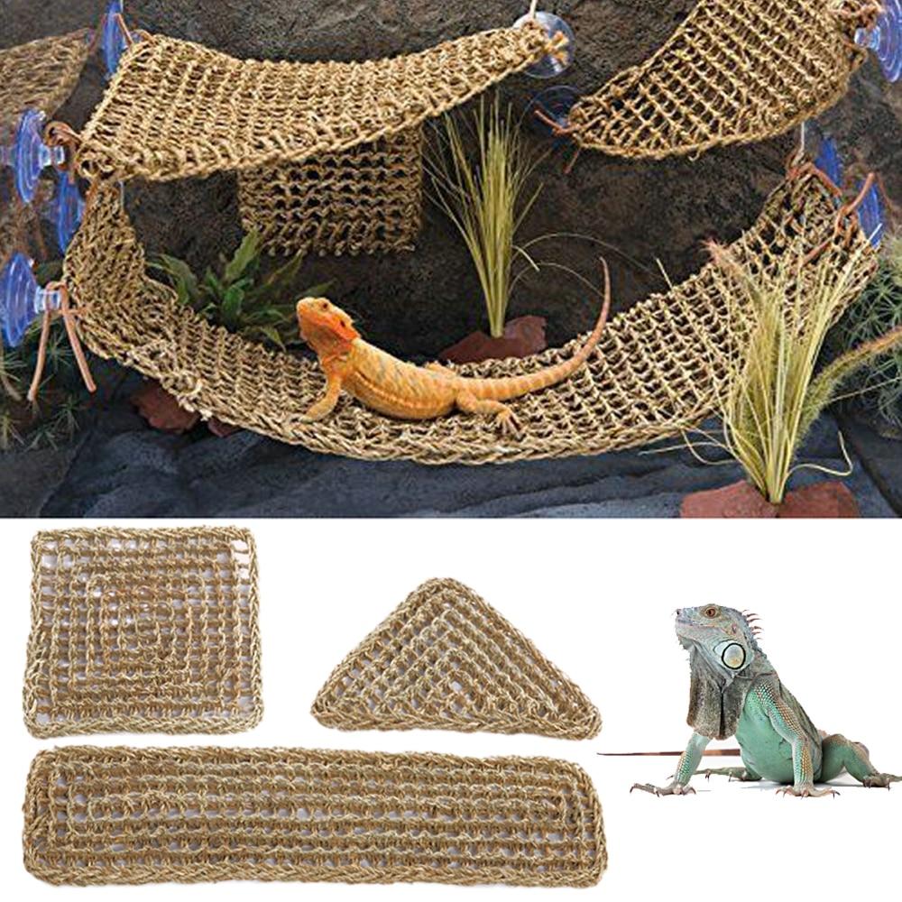 Terrário para Lagarto Réptil Espreguiçadeira Rede Pequeno Eremita Caranguejos Geckos Cama Esteiras Pet Tapete 75x18cm