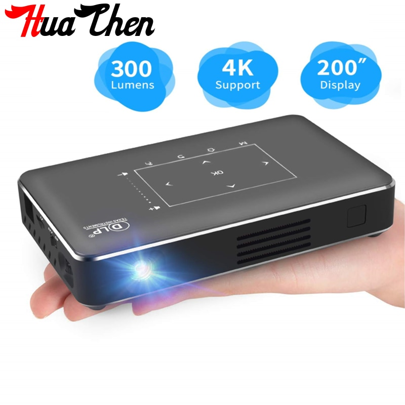 Promo P10 portable smart mini outdoor projector 4K HD DLP 3D home Android 9.0 mobile phone with screen projector